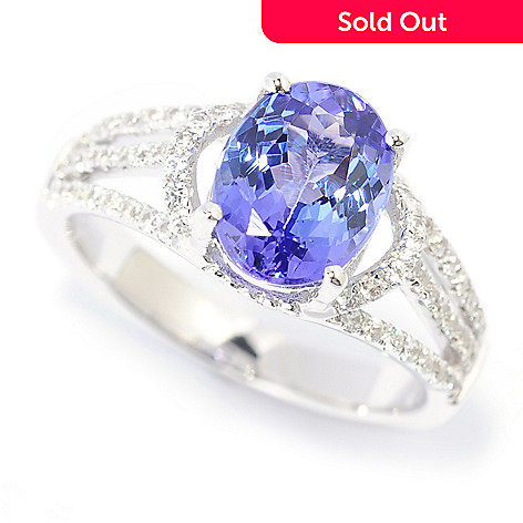 139-763 - Gem Treasures® 14K White Gold 2.02ctw Tanzanite & White Zircon Split Shank Ring