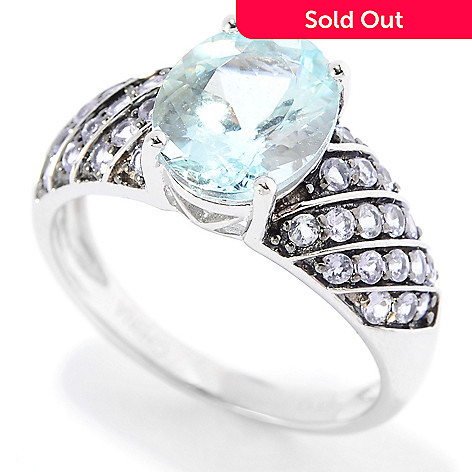 139-788 - Gem Treasures® 14K White Gold 2.26ctw Oval Aquamarine & Tanzanite Ring
