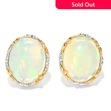 139-814 - Gems en Vogue 10 x 8mm Oval Ethiopian Opal Stud Earrings