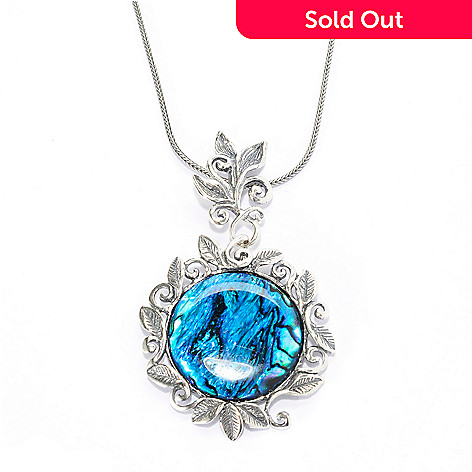 139-818 - Passage to Israel™ Sterling Silver 18'' 25mm Gemstone Leaf & Vine Motif Drop Necklace