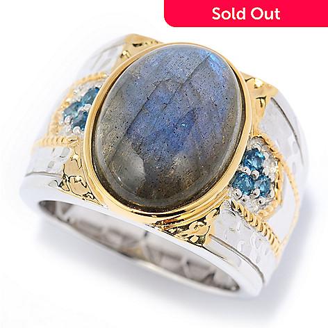 139-825 - Men's en Vogue 16 x 12mm Oval Labradorite & London Blue Topaz Hammered Ring