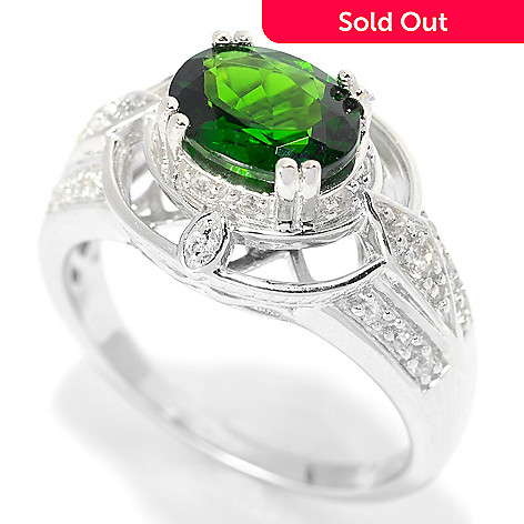 139-833 - Gem Treasures® Sterling Silver 1.18ctw Oval Chrome Diopside & White Zircon Ring