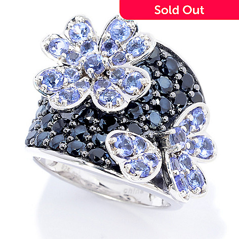139-844 - NYC II® 4.03ctw Tanzanite & Black Spinel Flower Ring