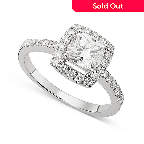 139-897 - Forever Brilliant® Moissanite 14K White Gold 1.40 DEW Cushion Cut Halo Ring