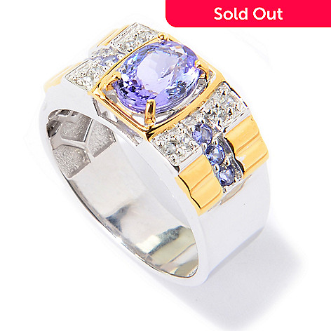 139-929 - Men's en Vogue 2.26ctw Oval Tanzanite & White Zircon Polished Ring