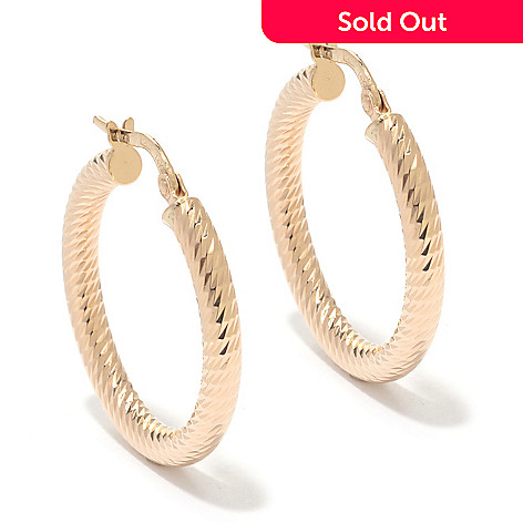 139-954 - Signature Luxe™ 14K Gold 1'' Diamond Cut Hoop Earrings