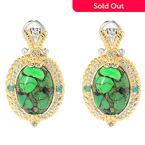 139-966 - Gems en Vogue 1'' 14 x 10mm Green Mohave Turquoise & Multi Gem Earrings