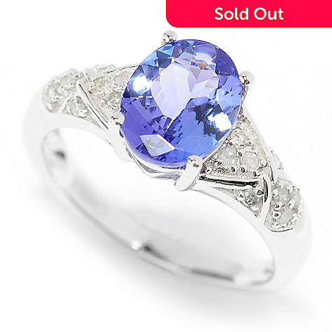139-975 - Gem Treasures 14K White Gold 1.41ctw Oval Tanzanite & Diamond Ring