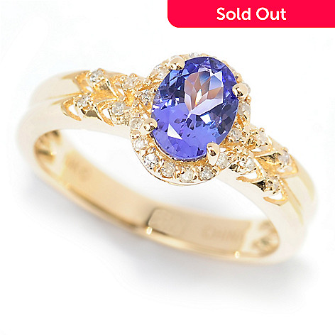 139-976 - Gem Treasures® 14K Gold Oval Tanzanite & Diamond Halo Ribbed Shank Ring