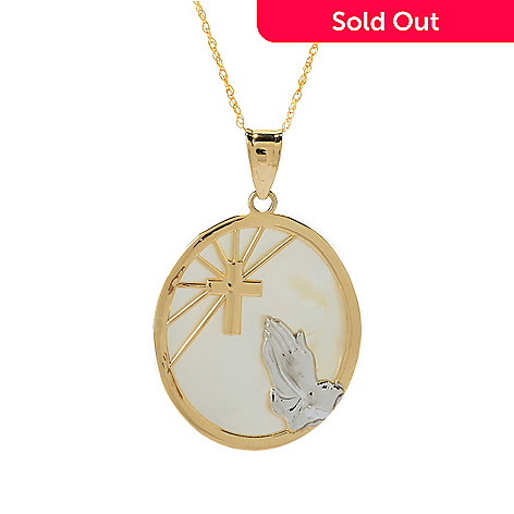 140-017 - 14K Two-tone Gold Mother-of-Pearl Faith Pendant w/ 18'' Chain