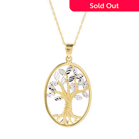 140-018 - 14K Two-tone Gold Tree of Life Oval Pendant w/ 18'' Chain