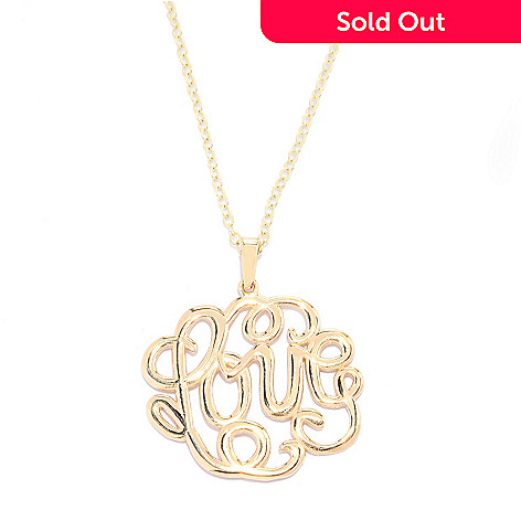 140-019 - 14K Gold Polished Openwork Word Pendant w/ 17'' Chain
