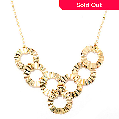 140-024 - 14K Gold 18'' Wave Textured Circle Necklace, 3.33 grams