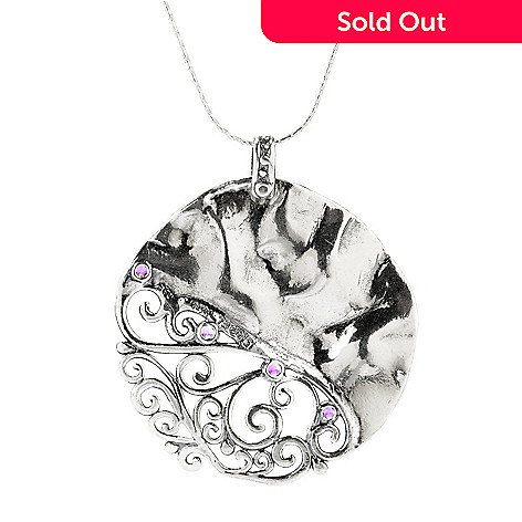 140-030 - Passage to Israel™ Sterling Silver 2.00ctw Amethyst Scrolling Filigree Pendant w/ Chain