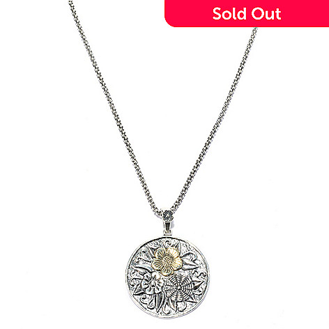 140-034 - Passage to Israel™ Sterling Silver & 14K Gold Accented Floral Medallion Pendant