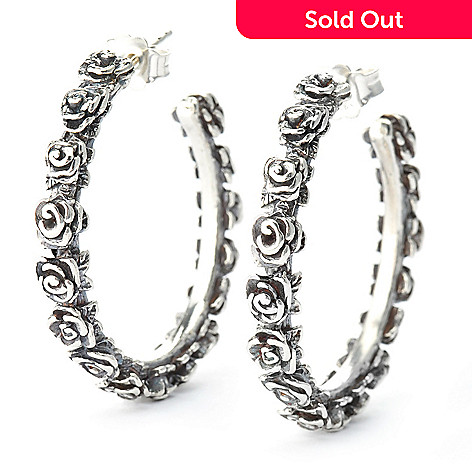 140-039 - Passage to Israel™ Sterling Silver 1.25'' Hammered Rose Hoop Earrings