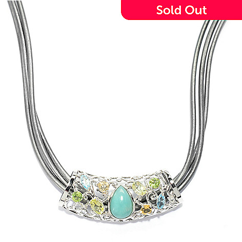 140-167 - Gem Insider® Sterling Silver 2.18ctw Multi Gem Pendant w/ 18'' Three-Strand Cord