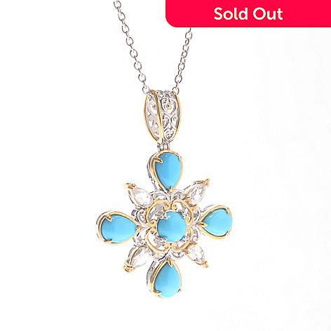 140-169 - Gems en Vogue Sleeping Beauty Turquoise & White Zircon Pendant w/ Chain