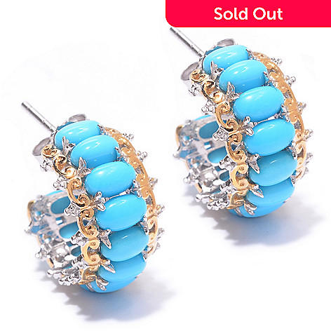 140-170 - Gems en Vogue Oval Sleeping Beauty Turquoise Hoop Earrings