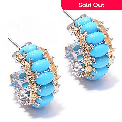 140-170 - Gems en Vogue Oval Sleeping Beauty Turquoise Hoop Earrings