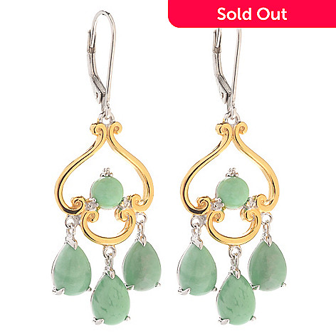 140-176 - Gems en Vogue 1.75'' Round & Pear Shaped Utah Variscite Dangle Earrings