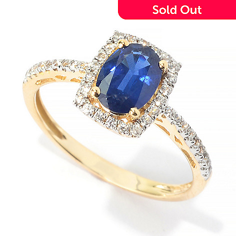 140-187 - Gem Treasures® 14K Gold 1.22ctw Oval Sapphire & White Topaz Halo Ring