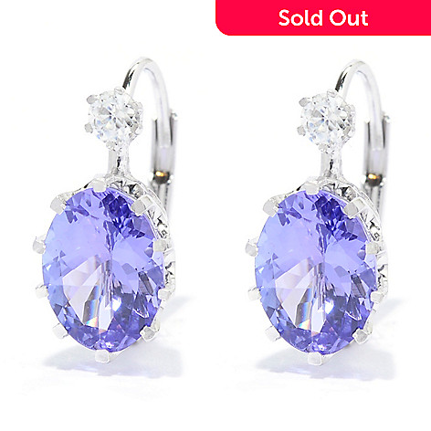 140-244 - Gem Treasures 14K White Gold 2.38ctw Tanzanite & White Zircon Drop Earrings
