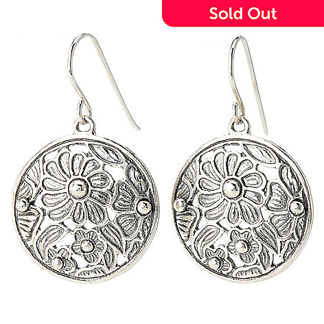 140-245 - Passage to Israel™ Sterling Silver 1.25'' Floral Motif Cut-out Disk Drop Earrings