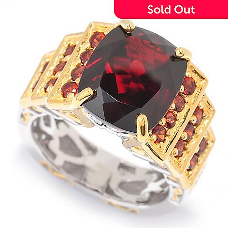 140-294 - Gems en Vogue 7.41ctw Cushion Cut Mozambique Garnet Tiered Ring