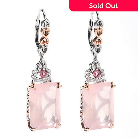140-313 - Gems en Vogue 14 x 10mm Rose Quartz & Pink Tourmaline Drop Earrings