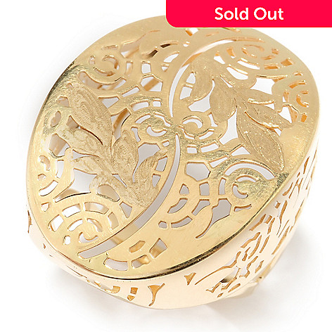 140-368 - Signature Luxe™ 14K Gold Polished & Satin Finished Floral Motif Cut-out Ring