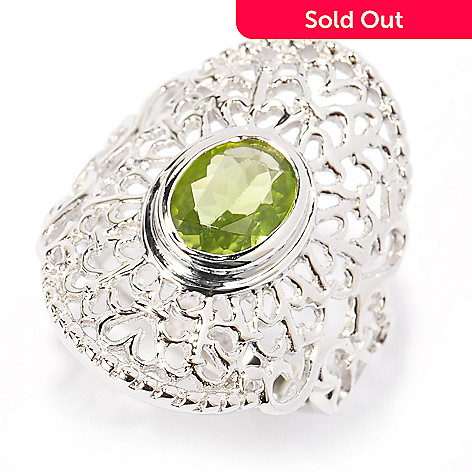 140-436 - Gem Insider® Sterling Silver 1.45ctw Oval Arizona Peridot Filigree Ring