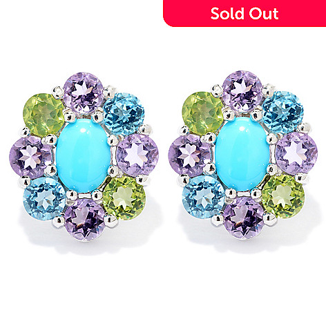 140-458 - Gem Insider™ Sterling Silver Sleeping Beauty Turquoise & Gem Stud Earrings