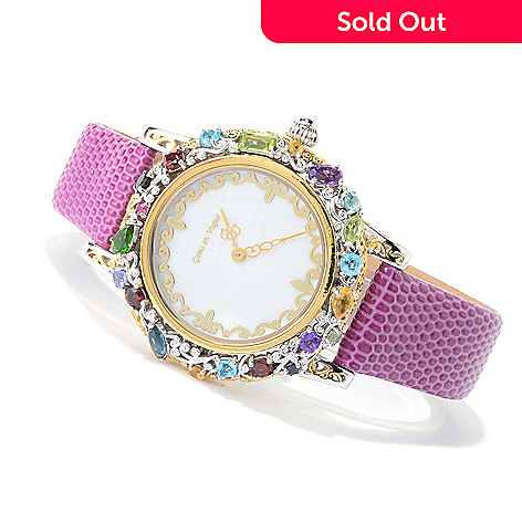 140-502 - Gems en Vogue Multi Gemstone ''Carnaval'' Leather Strap Watch
