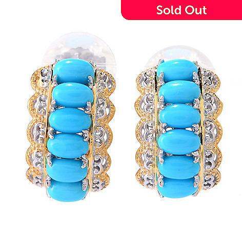 140-526 - Gems en Vogue Oval Sleeping Beauty Turquoise J-Hoop Earrings