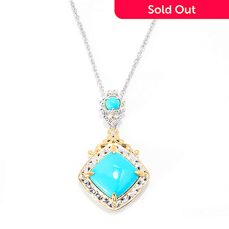140-527 - Gems en Vogue 12mm Sleeping Beauty Turquoise Drop Pendant w/ 18'' Chain