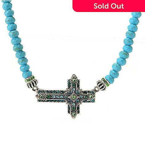 140-535 - FAITH 17.5'' Crystal Sideways Cross Beaded Necklace w/ 2'' Extender