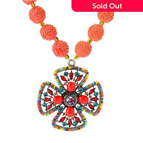 140-536 - FAITH 19'' Crystal & Resin Floral Beaded Cross Medallion Drop Necklace