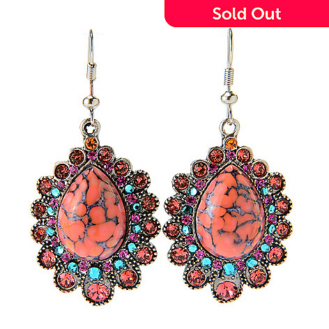 140-538 - FAITH 2'' Crystal & Pear Shaped Cabochon Scalloped Drop Earrings