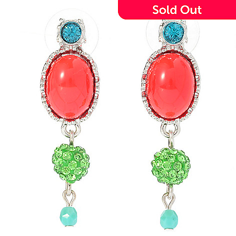 140-540 - FAITH 1.75'' Multi Color Crystal & Glass Drop Earrings