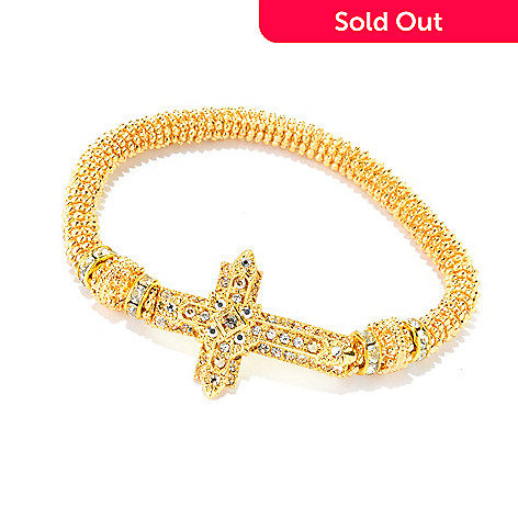 140-551 - FAITH Crystal Textured Sideways Cross Stretch Bracelet