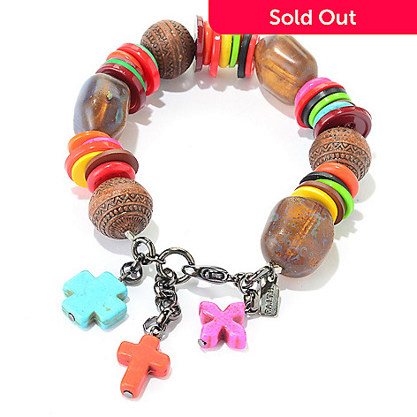 140-552 - FAITH Button & Bead Station Dangle Cross Stretch Bracelet