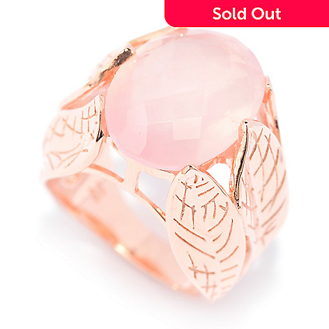 140-572 - NYC II™ 16 x 12mm Checkerboard Cut Rose Quartz Leaf Shank Ring