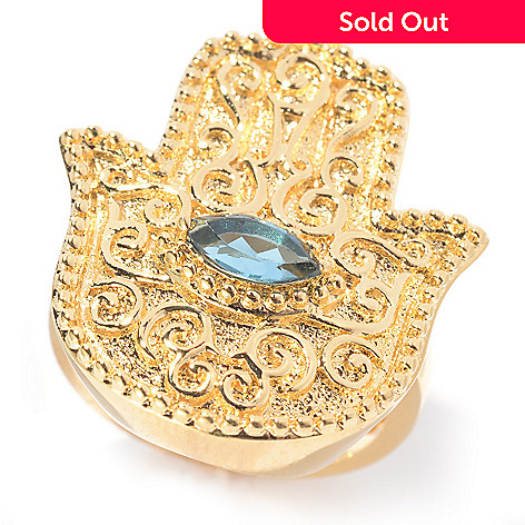 140-578 - Jaipur Jewelry Bazaar™ 18K Gold Embraced™ London Blue Topaz Hamsa & Evil Eye Filigree Ring