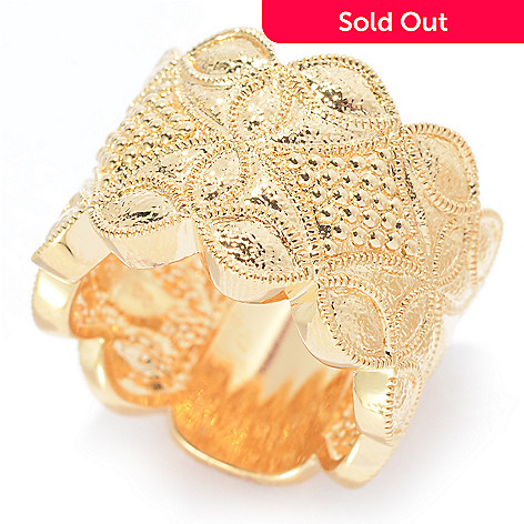 140-579 - Jaipur Jewelry Bazaar™ 18K Gold Embraced™ Polished & Textured Wide Band Ring