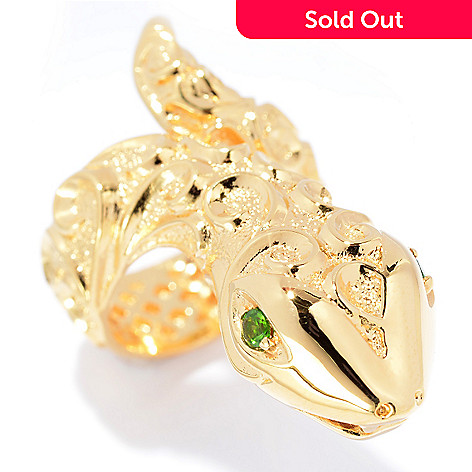 140-580 - Jaipur Jewelry Bazaar™ 18K Gold Embraced™ Chrome Diopside Swirl Design Snake Ring
