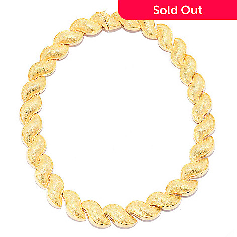 140-588 - Jaipur Bazaar 18K Gold Embraced™ 18'' Textured & Beaded Edge Wave Necklace