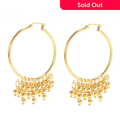 140-589 - Jaipur Jewelry Bazaar™ 18K Gold Embraced™ 2.5'' Multi Layer Polished Bead Hoop Earrings