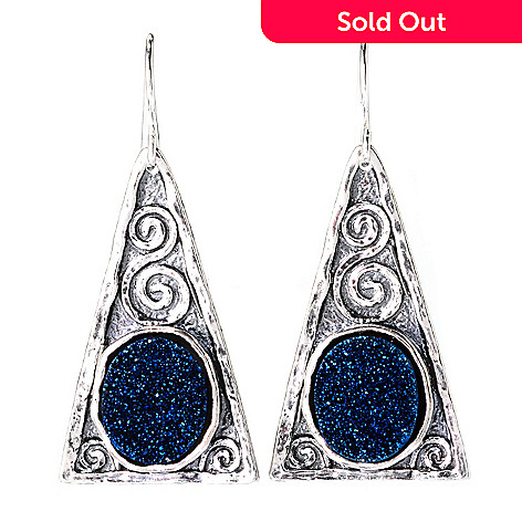 140-633 - Passage to Israel™ Sterling Silver 1.5'' 12 x 10mm Drusy Triangle Drop Earrings