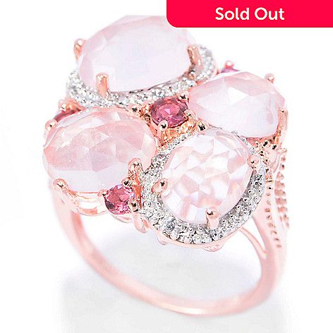 140-655 - NYC II™ Checkerboard Cut Rose Quartz, Pink Tourmaline & White Zircon Ring